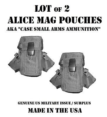 Lot of 2 US Military Army USMC Ammo Case LC1 Alice Mag Pouch Army USMC Surplus