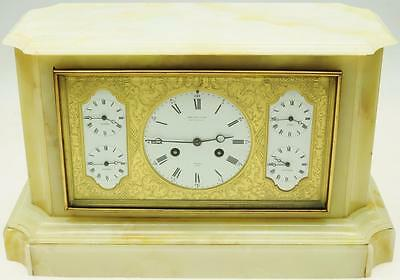 Rare Antique 19thc French 8 Day Multi Dial World Time Marble Mantle/Table Clock