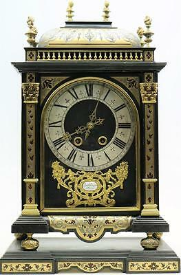 Rare Antique Large French Louis XIV Religious Boulle Bracket Clock On Plinth