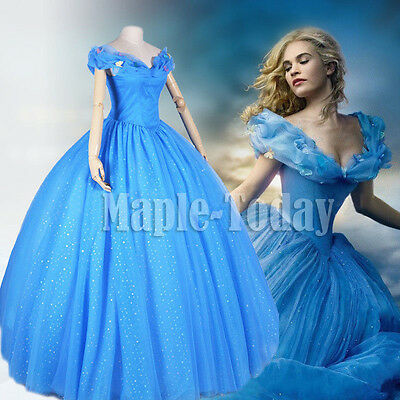 Adult Sandy Cinderella Princess Party Blue Fancy Dress Ball Gown Cosplay Costume