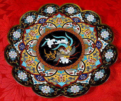 """Antique Meiji Period Japanese Cloisonne Charger Plate Scalloped Rim 12""""dia"""