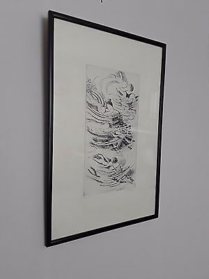 Original etching limited edition 3/5 'Mothers & children' signed G.Sumpin