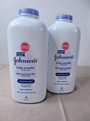2 - 22 oz. Johnson's Baby Powder- Calming Lavender, Mild Formula EXPEDITE SHIP!