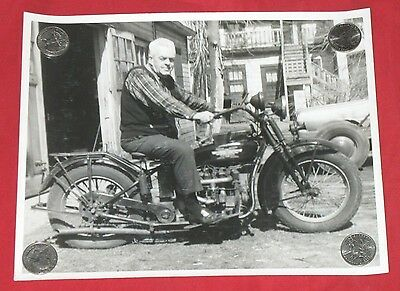 Old 8 x 10 Glossy Photograph of a Henderson Motorcycle with Rider - Original -