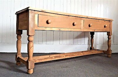 Large long reclaimed wood 2 drawer farmhouse rustic pine console table