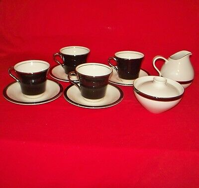 4 American Manor China Interpace Ebony Cups & Saucers Cream Pitcher & Sugar Bowl