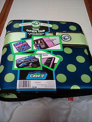 """NEW Case-it The Open Tab 2"""" Binder SCHOOL COUPONS 3 RING S-818-P POLKA DOTS"""