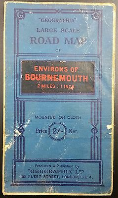 "Vintage Geographia Map ""Environs of Bournemouth"", Cloth Backed, 2 Miles : 1"""