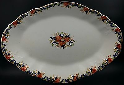 """Large Polychrome Victorian Platter By John Maddock & Sons, 19 1/2"""" x 13 3/4"""""""