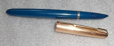 Parker 51 model  fountain pen blue with yellow gold filled cap