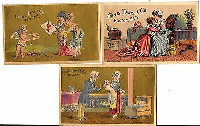 Vintage Victorian Trade Card Lot Of 3 Cards Curtis Davis & Co Boston Mass Soap
