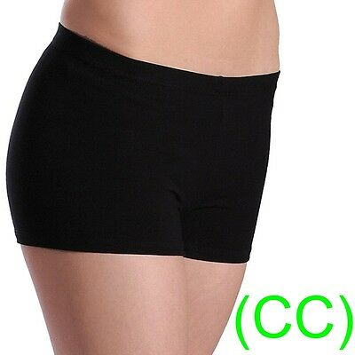 BLACK DANCE SHORTS Lycra Spandex Gym Hot Pants leotards ballet salsa yoga (CC)