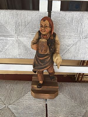 """Large ANRI Carved Figure Of Man 20"""" Tall"""