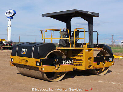 "2002 Caterpillar CB-634D 84"" Smooth Double Drum Articulating Vibratory Roller"