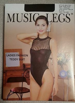 black crochet top high cut  MUSIC LEGS Lingerie TEDDY Bodystocking One SIze