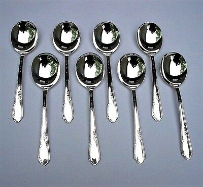 Set of 8 MEADOWBROOK aka HEATHER Round Bowl Gumbo Soup Spoons 1936 Silverplate