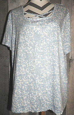 Women's Size 1X Shirt Top Blouse Blue White Short Sleeve Summer Coral Bay