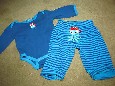 BABY GEAR boys PIRATE OCTOPUS l/s SHIRT BODYSUIT & PANTS 6 9 months OUTFIT SET