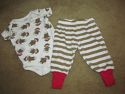 BABY STARTERS boys SOCK MONKEY s/s SHIRT BODYSUIT & PANTS 3 months OUTFIT SET