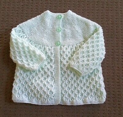 Lovely Ice Green 4ply H/Knitted Baby jacket. size 000  NEW