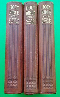 1911 BALLANTYNE THE HOLY BIBLE Terra Cotta Leather Cased 3-Volumes ILLUSTRATED