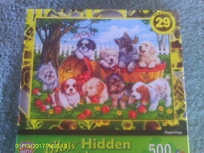 500 Pc Puzzle of 9 Different Puppy Dog Breeds Playing In Bushel Baskets in Yard