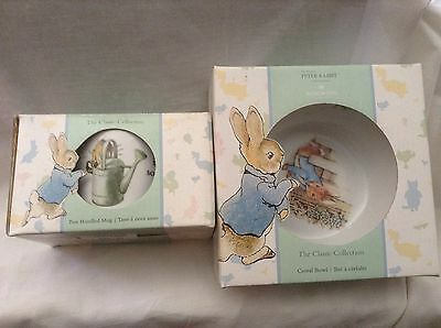 wedgwood Peter Rabbit Two Handle Cup And Cereal Bowl