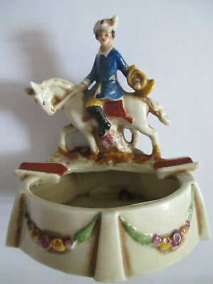 Antique Germany Ashtray Porcelain Numbered Hand-painted Military Rider Horse