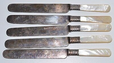 Antique 1855 MERIDEN CUTLERY CO PEARL HANDLE KNIVES Set Of 5