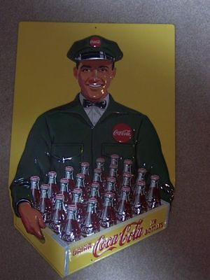 Stunning Coca Cola Coke Bottle Delivery Man Embossed Metal Sign 20'' High