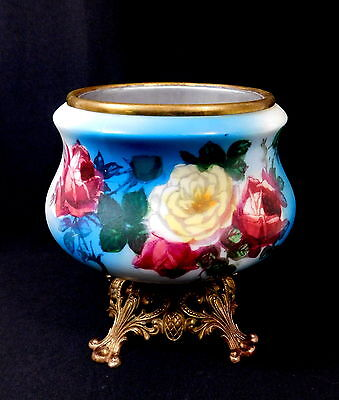 Antique Porcelain Flower Bowl  w/Metal Frog Insert - Red & Yellow Roses