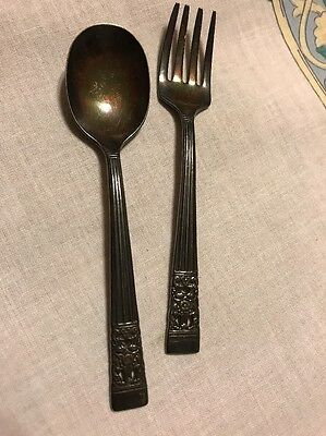 Vintage Children's Silver plate Matching Spoon & Fork