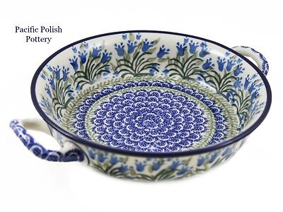 Polish Pottery Stoneware CA Round Baker with Handles (419-1432) Blue Tulips