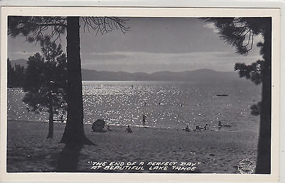 Lake Tahoe, Ca. The End Of A Perfect Day.  Vintage Real Photo Postcard