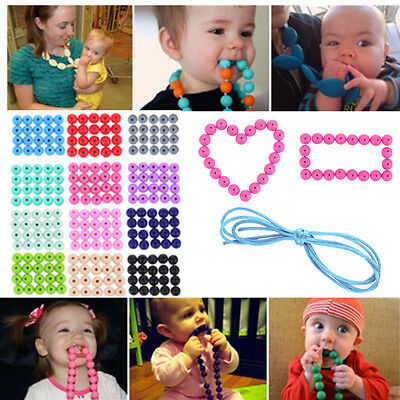 20pcs/pack Food-Grade BPA-Free Silicone Baby Teether Mom DIY Necklace Bracelet