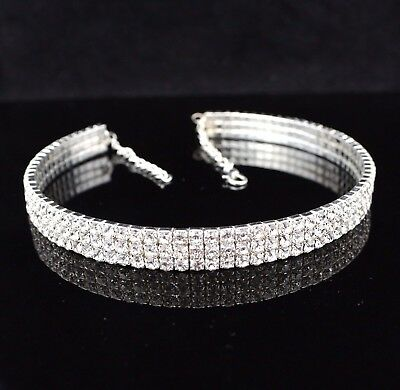 3-Row Clear Austrian Rhinestone Crystal Choker Necklace Party Bridal Prom NC1