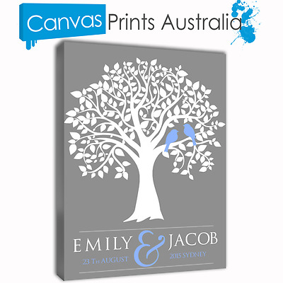Personalized Prints Wedding Signing Tree Birds Canvas Art Anniversary Engagement