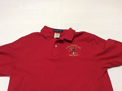 B7 LAFD Los Angeles Fire Department Knit Polo Style Shirt Embroidered Red L Rare