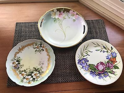 Three Gorgeous Antique hand painted  Plates 2 French