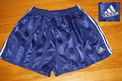Vtg ADIDAS SHINY BLUE SATIN SPRINTER SEWN LOGO Track Shorts EC  26 to 31 waist