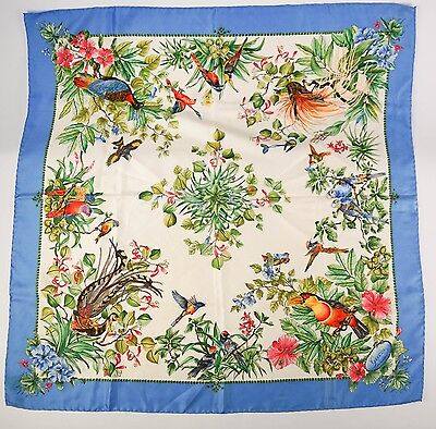 GUCCI Colorful Tropical Birds Pure Silk Square Scarf