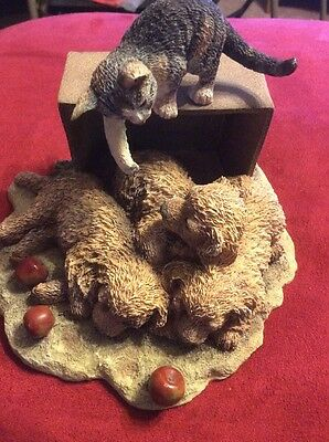"""Curious Cats """"the Wake-up Call"""" Figurine - Lang & Wise Collectible"""