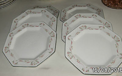 Lot De 6  Assiettes Plates Octogonales En Porcelaine Anglaise  Johnson Brothers