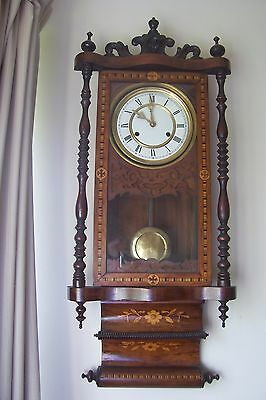 Antique American Drop Dial Wall Clock Beautiful Walnut Inlaid Case