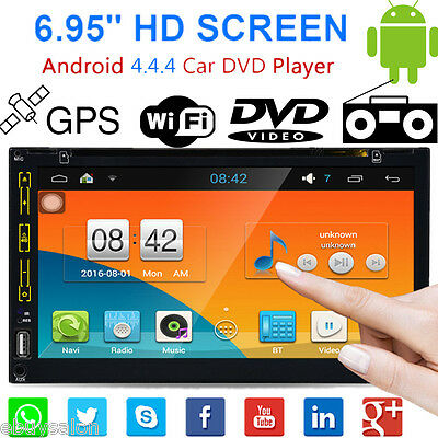 "6.95"" 2DIN Android Bluetooth GPS Navigatore Car Autoradio DVD Player FM AUX USB"