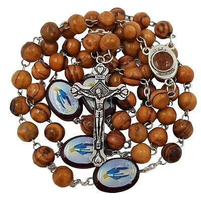 BLESSED CATHOLIC ROSARY BEADS NECKLACE Olive Wood Saints Cross Crucifix Gift Box
