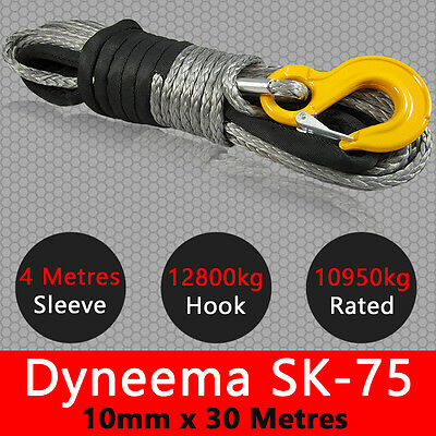 10mm X 30m Dyneema SK75 Winch Rope Hook Synthetic Recovery Cable Off road 4x4
