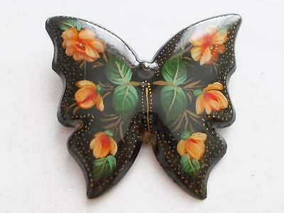 Vintage Big Rare Tole Hand Painted Buttterfly Russian Laquered Floral Brooch