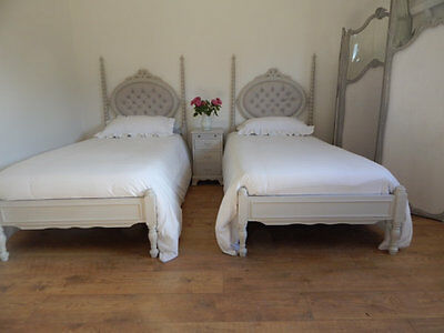 Pair of vintage French single beds With new upholstery