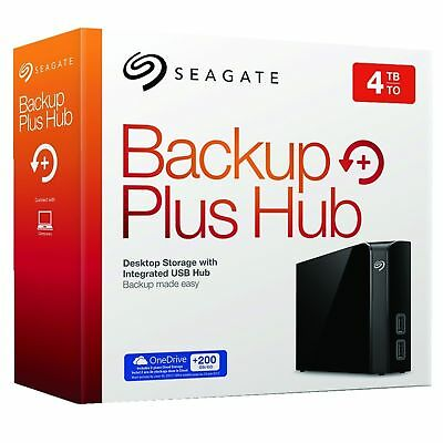 "Seagate Backup Plus HUB 4TB 3.5"" USB 3.0 External Desktop Hard Drive HDD Black"